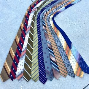 12 MENS ties bundle set VINTAGE RETRO silk STRIPED